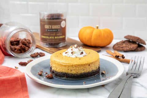 Grey Ghost Bakery Pumpkin Cheesecake with Chocolate Bourbon Cookie Crust