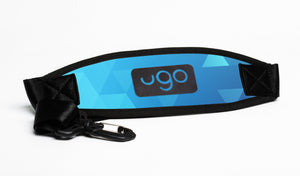 ugo waterproof tablet bag strap blue and orange geo