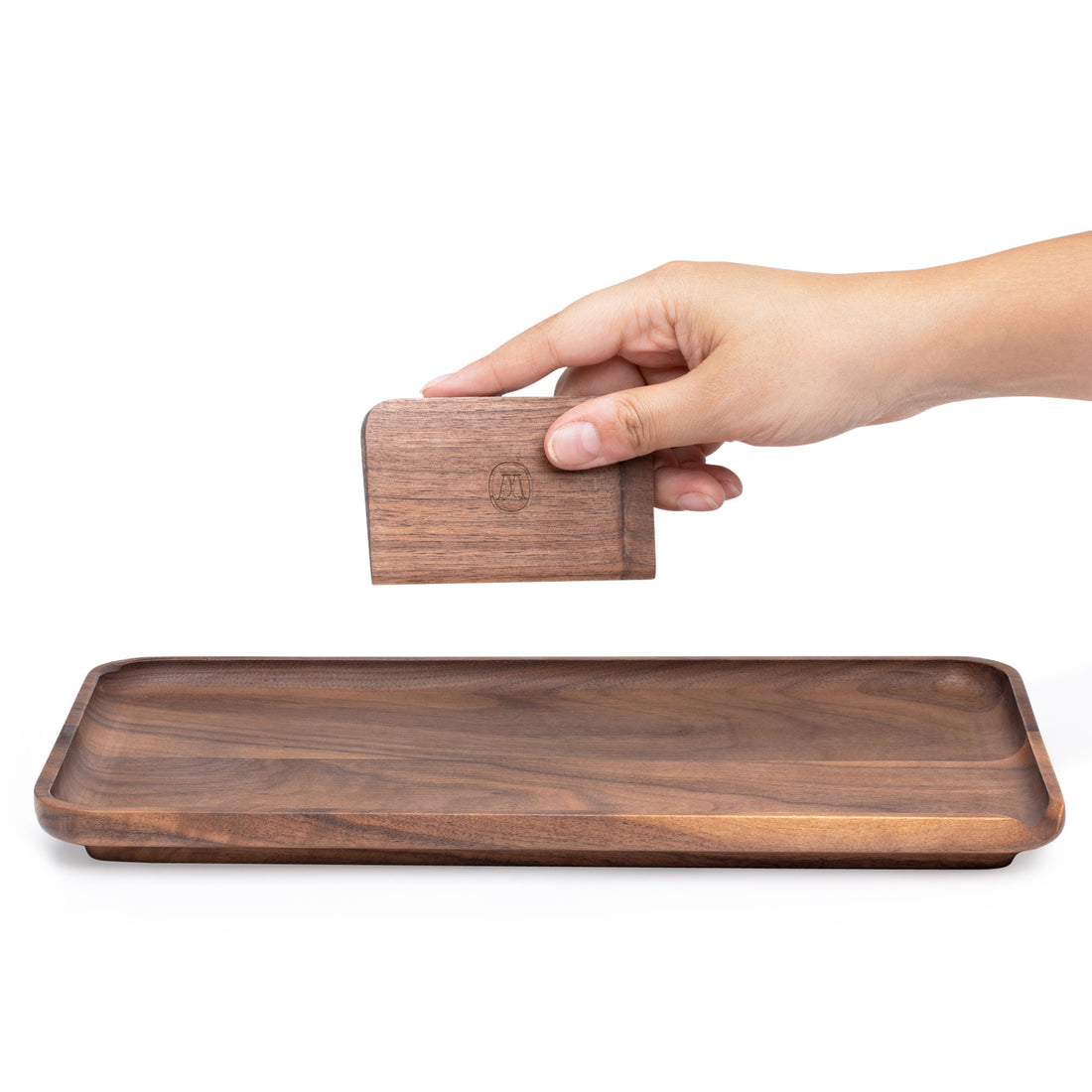 Marley Natural American Black Walnut Rolling Tray - Large