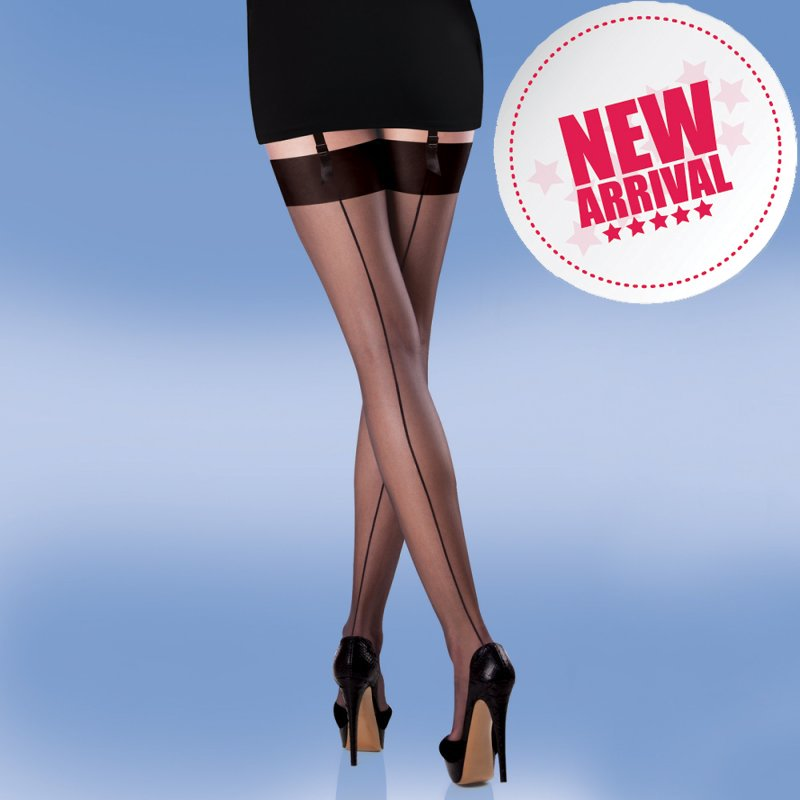 Retro Seamed Black Stockings with Black Seams