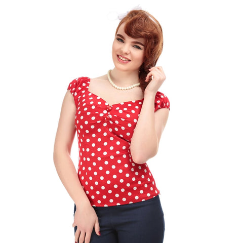 Collectif Dolores 1950's Gypsy Top Polka Dots Red