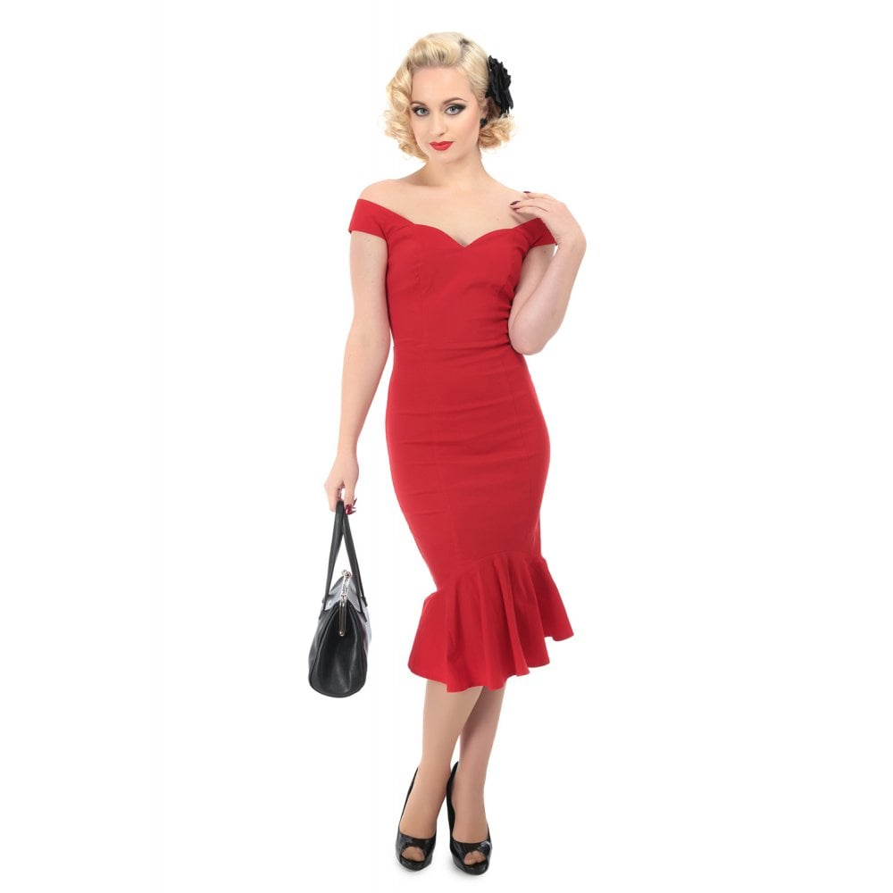 Collectif Josephine Fishtail Dress Red
