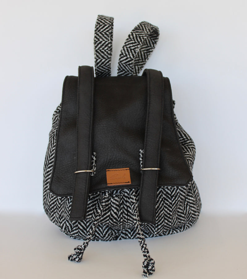 New Piranda Rucksack in Black & White Cloth Print