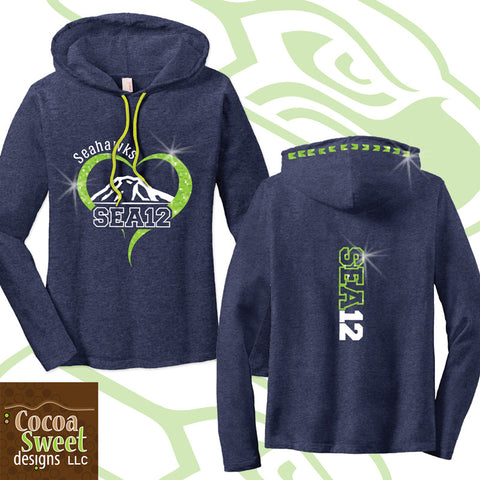 Hawks - Ladies Glitter Long Sleeve Hooded Tee -  Seattle 12