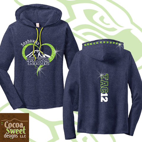 Hawks - Ladies Glitter Long Sleeve Hooded Tee -  Tacoma 12