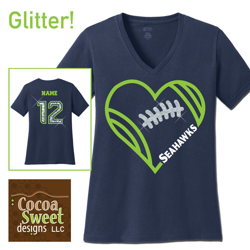 heart football ladies v-neck tee with custom name
