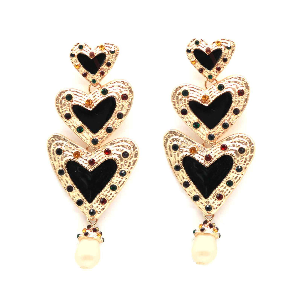 Triple Heart Black Earrings - Joker & Witch