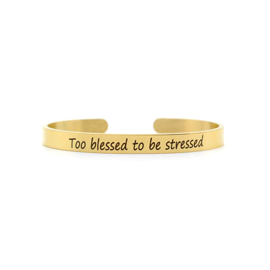 Too Blessed To Be Stressed Gold Mantra Band - Joker & Witch