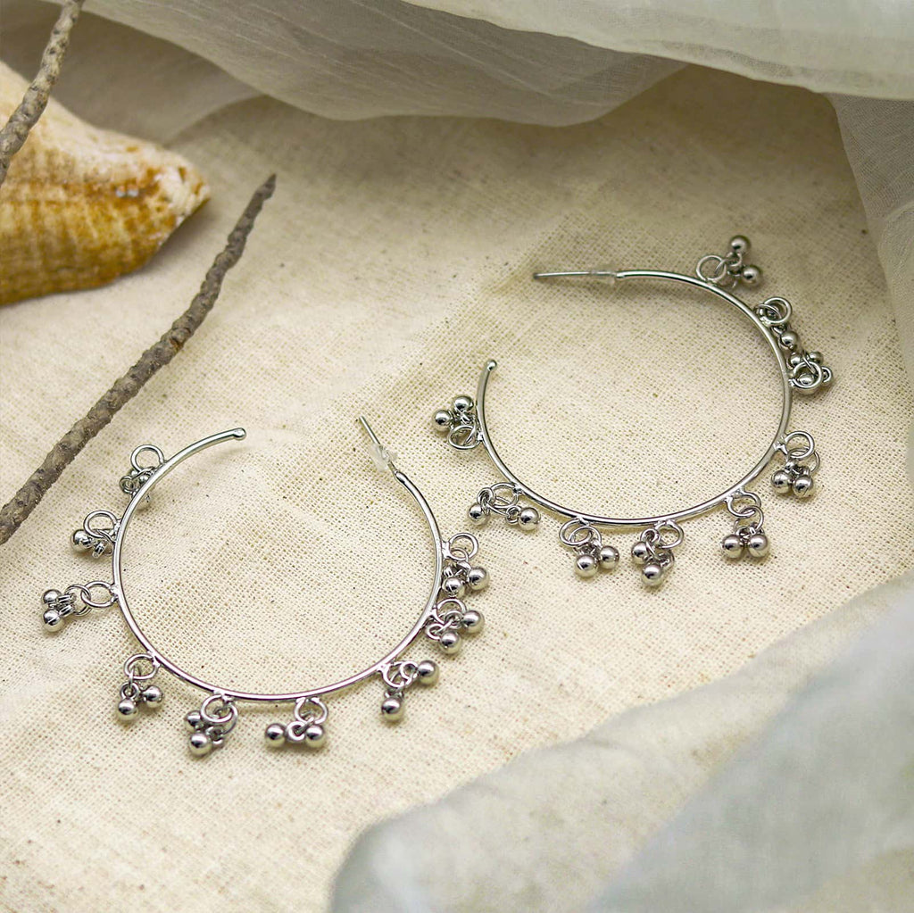 Teejh Kalpana Silver Oxidized Ghungroo Earrings