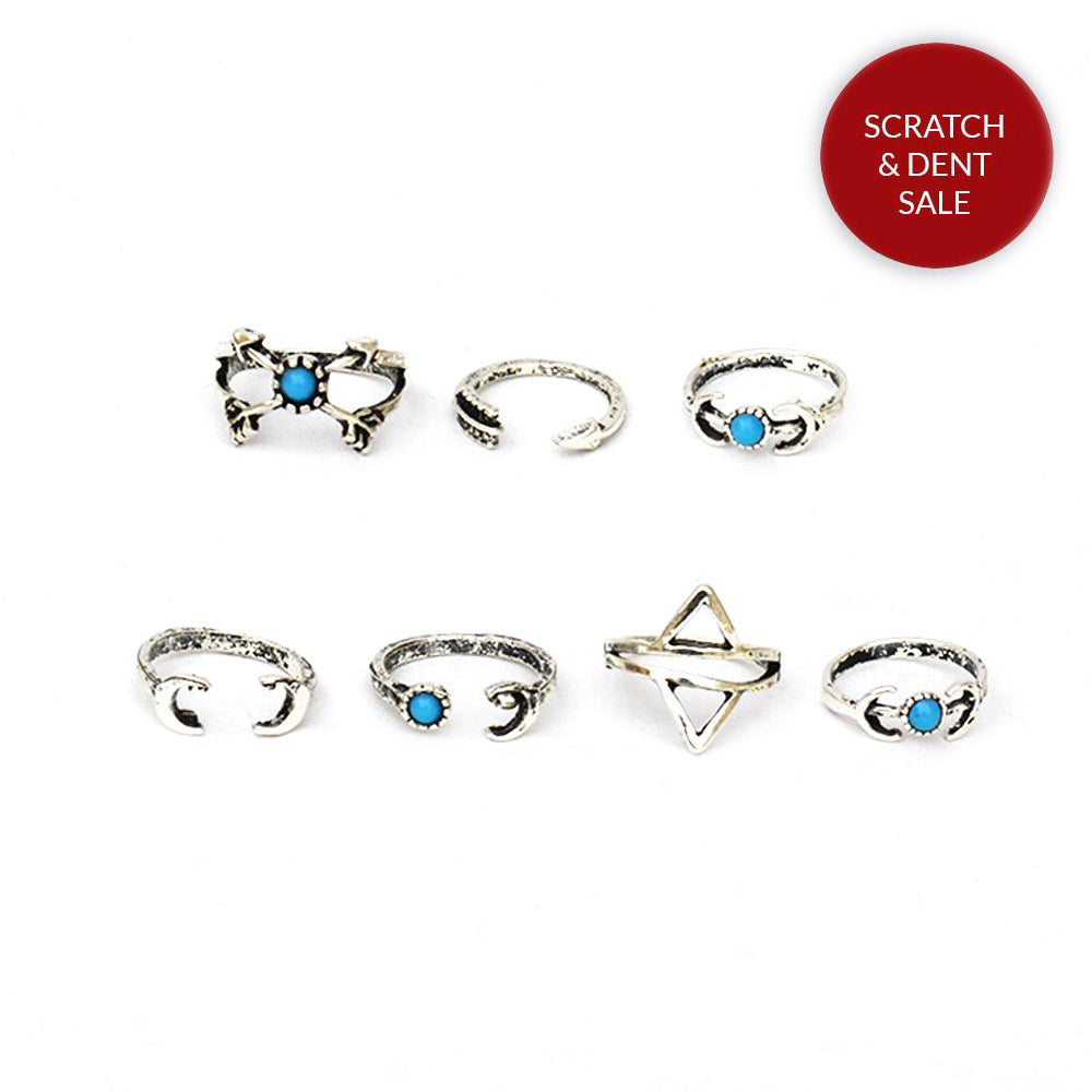 Set of 6 Boho midi rings - Joker & Witch