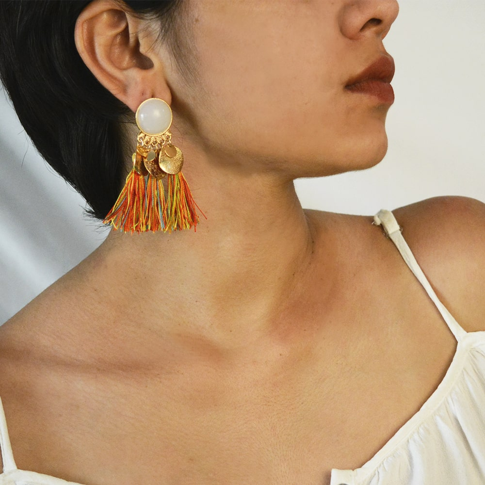 Multicolored Fringe Drop Earrings