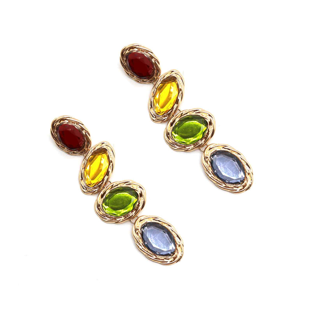 Multi-coloured Pierre gold earring