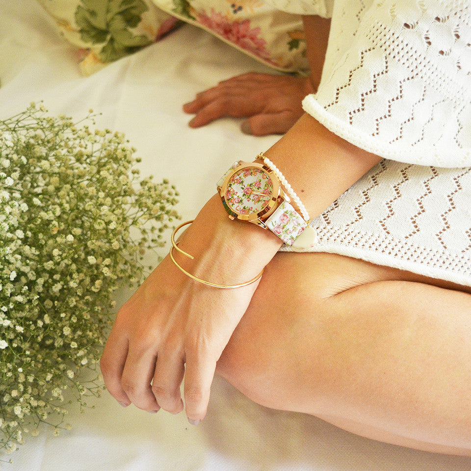 White Floral Silicone watch