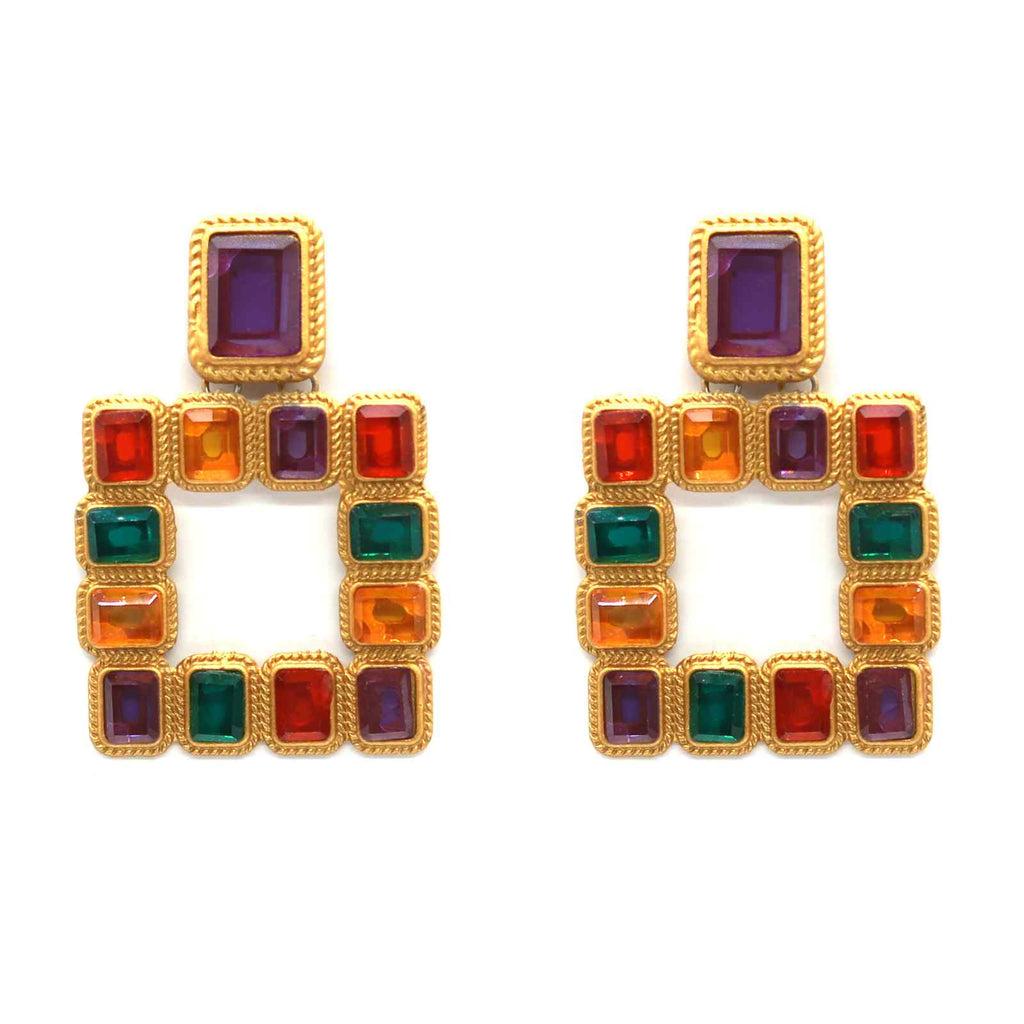 Multi-Coloured Reckt Earrings - Joker & Witch