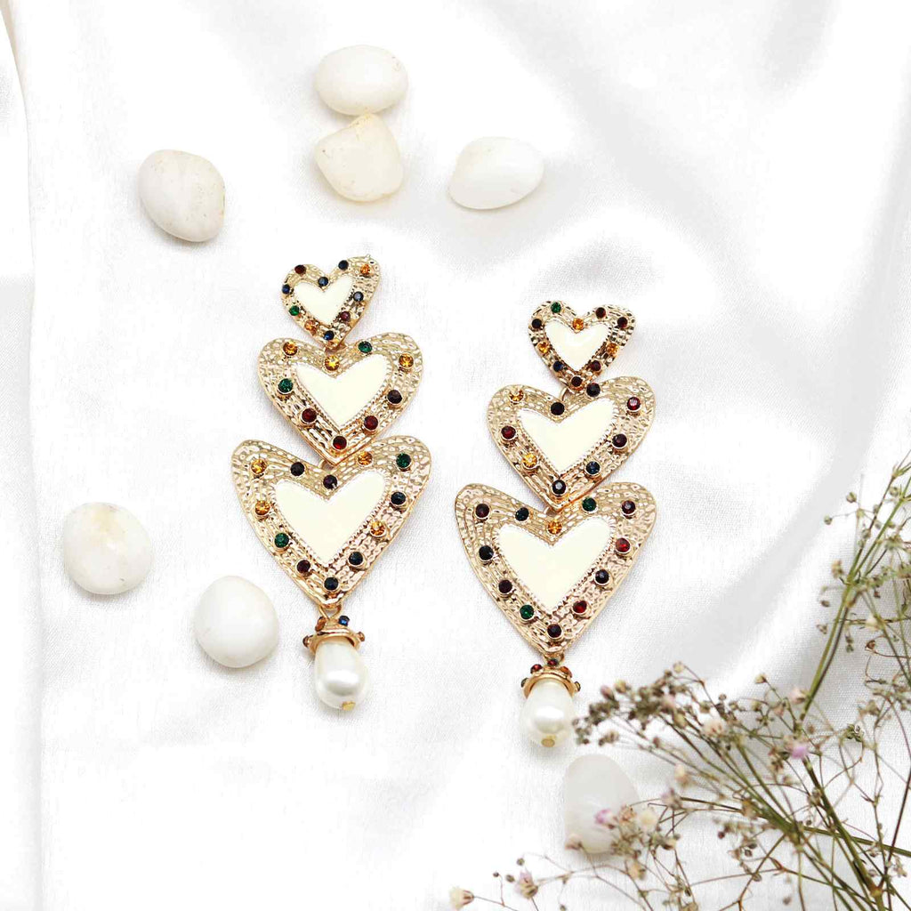 Triple Heart white earring - Joker & Witch