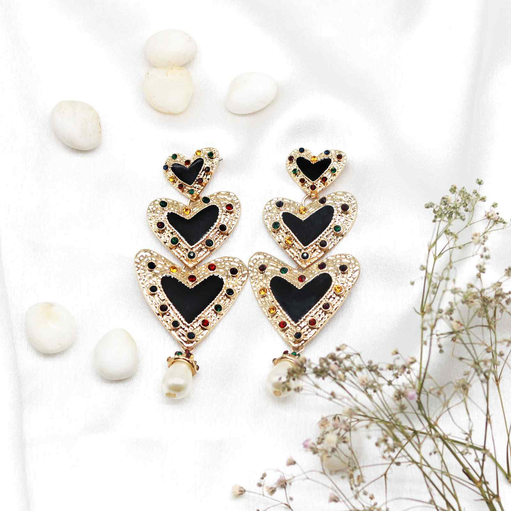 Black Dangler Earrings