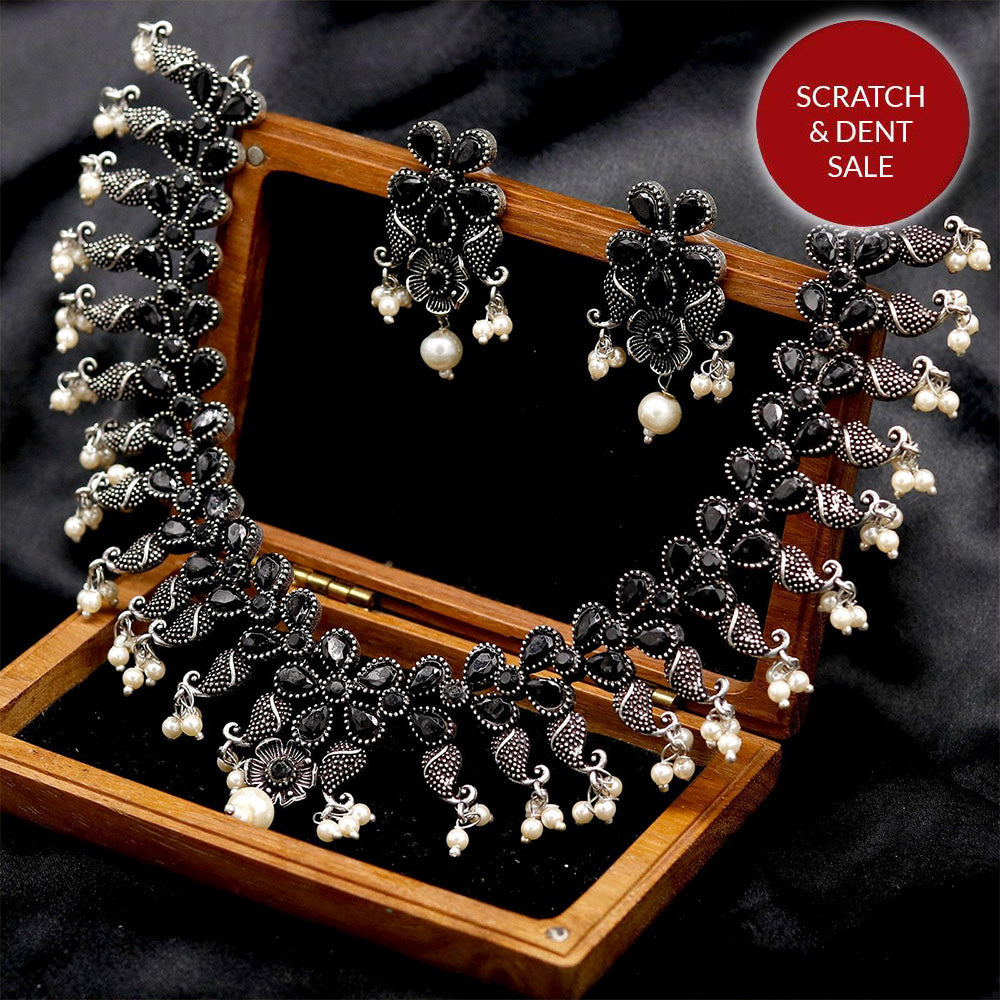 Niranjana Black Stone Silver Oxidized Necklace - Joker & Witch