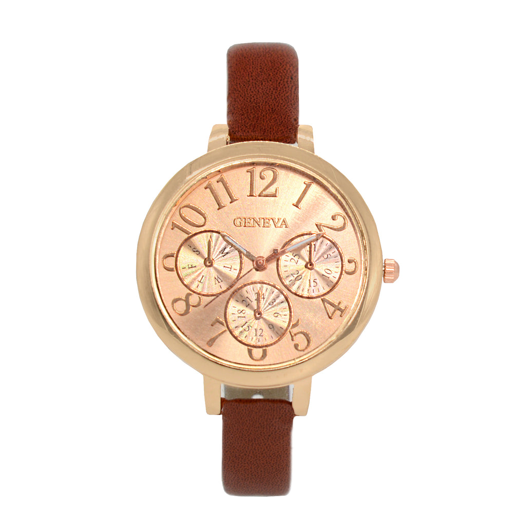 ROSEGOLD DIAL BRICK RED WATCH