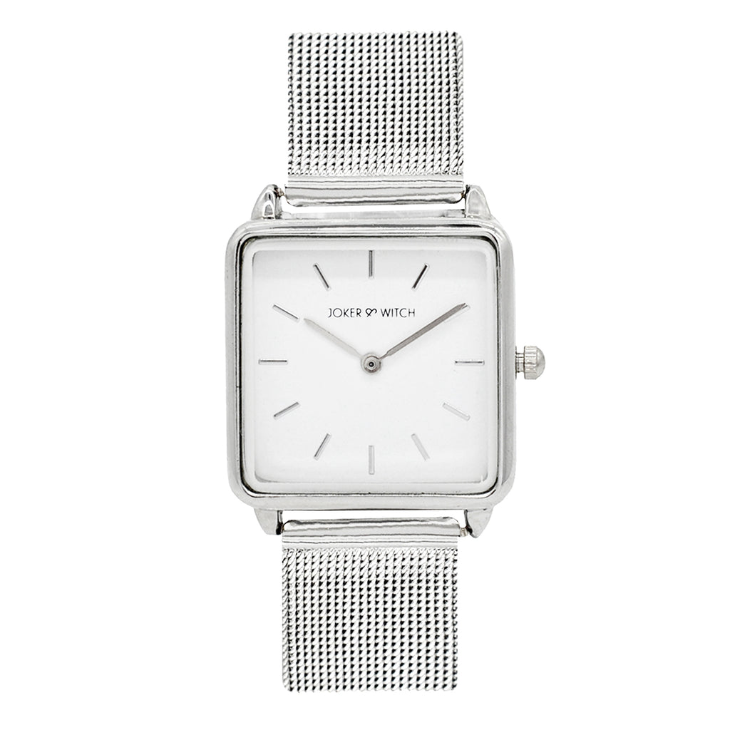 Vintage Square White Dial Silver Watch - Joker & Witch