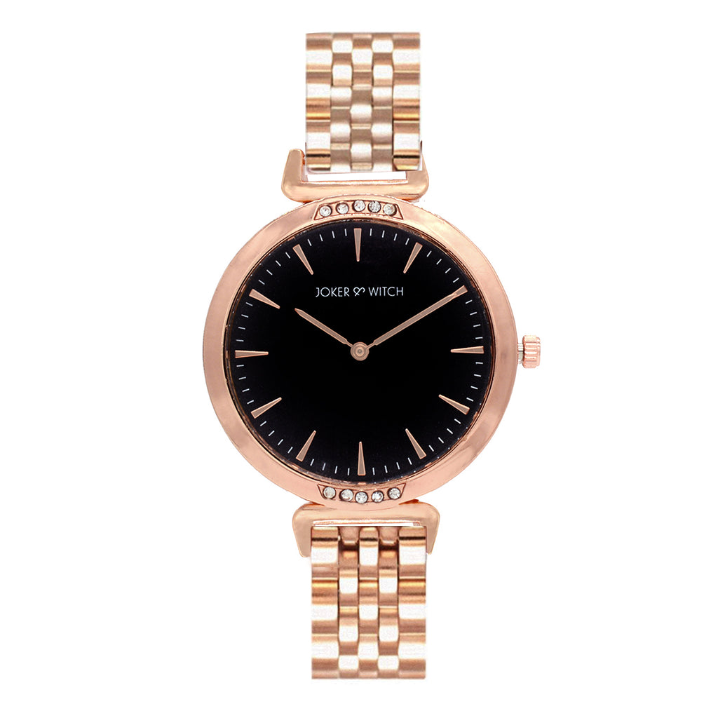 PETITE BLACK DIAL CLASSIC ROSEGOLD WATCH - Joker & Witch