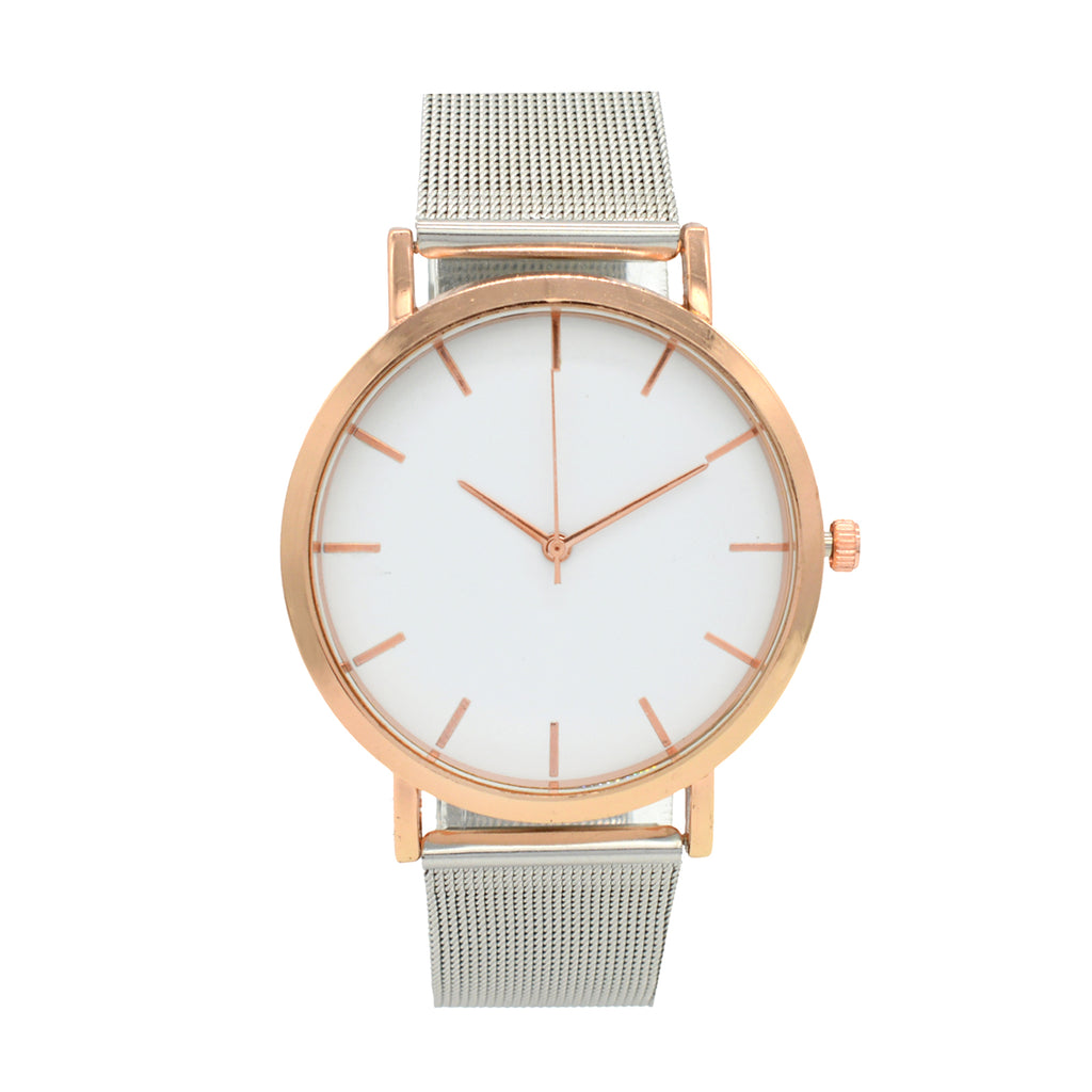 ALEX WHITE & ROSEGOLD DIAL SILVER MESH STRAP WATCH - Joker & Witch