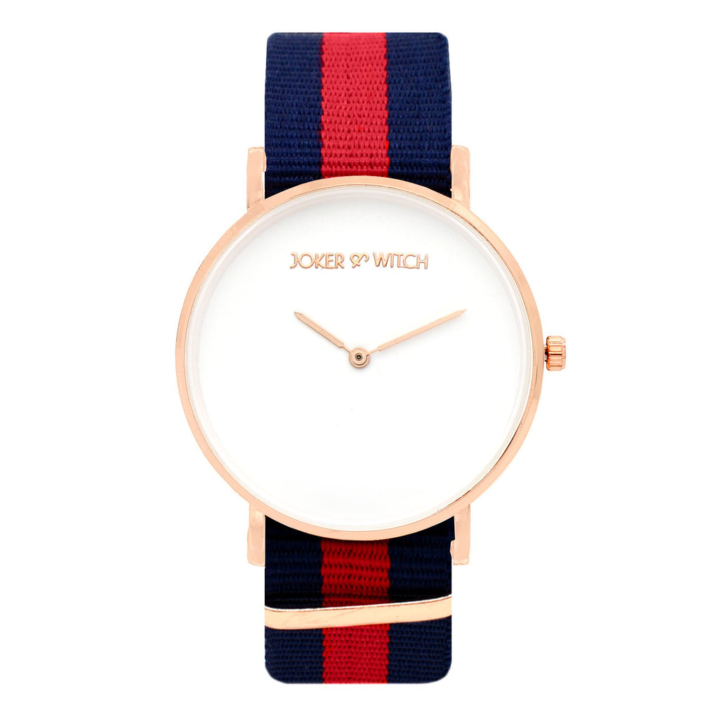 CLASSIC STRIPES BLUE RED STRAP WATCH - Joker & Witch