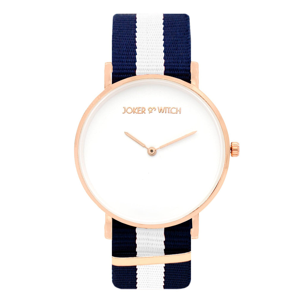 Classic Stripes Blue White Strap Watch