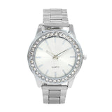 RHINESTOES STUDDED SILVER WATCH