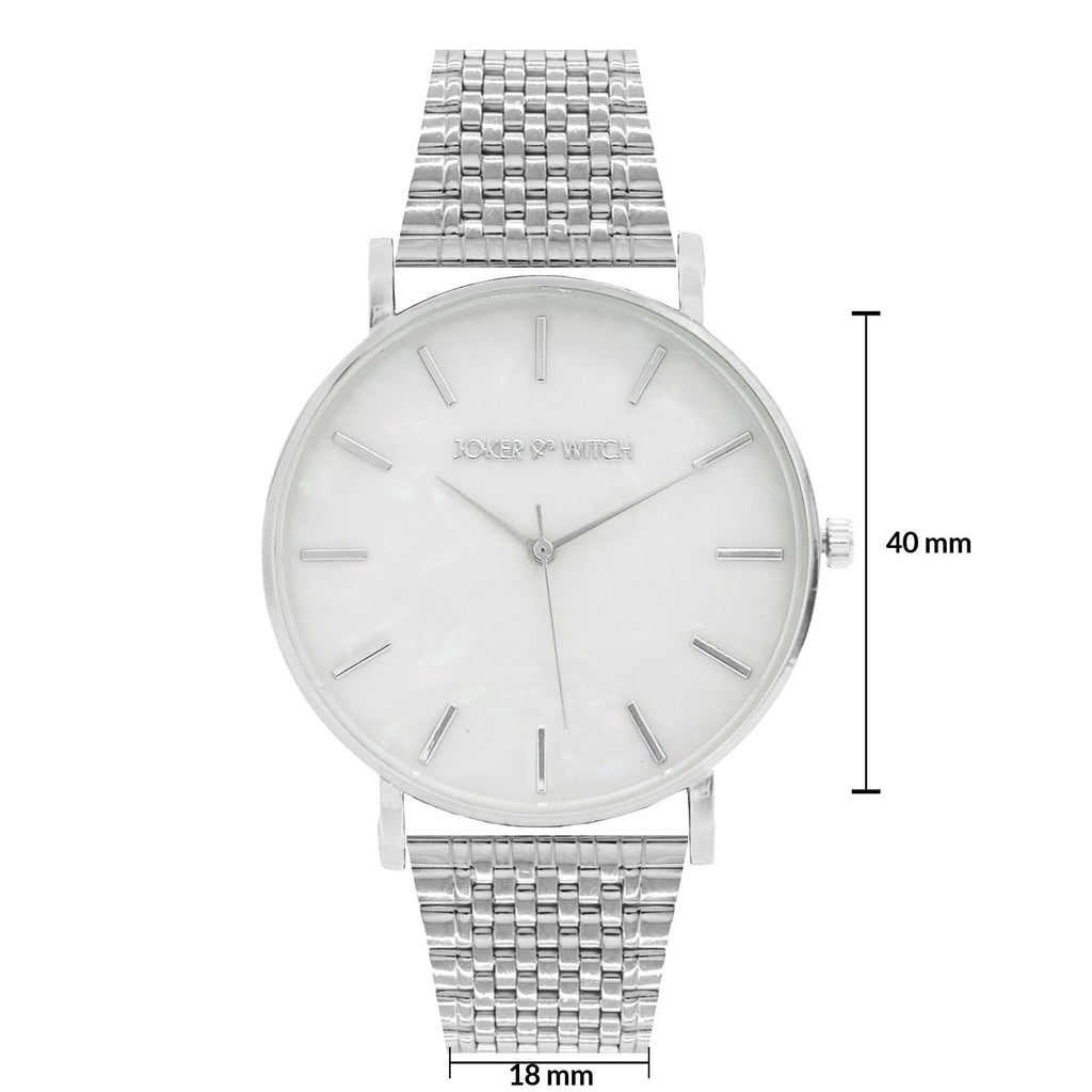 Nebula White Dial Silver Watch