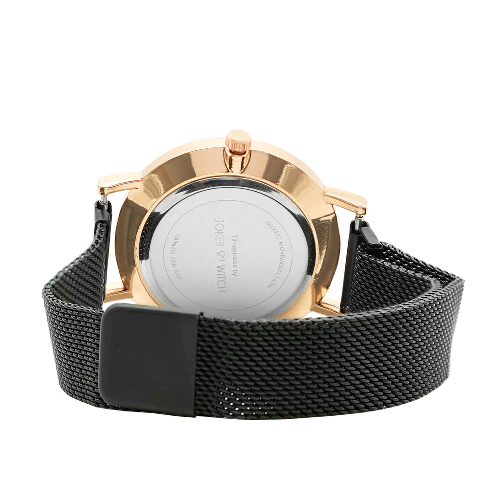 April Marble Dial All Black Magnetic Mesh Strap Watch