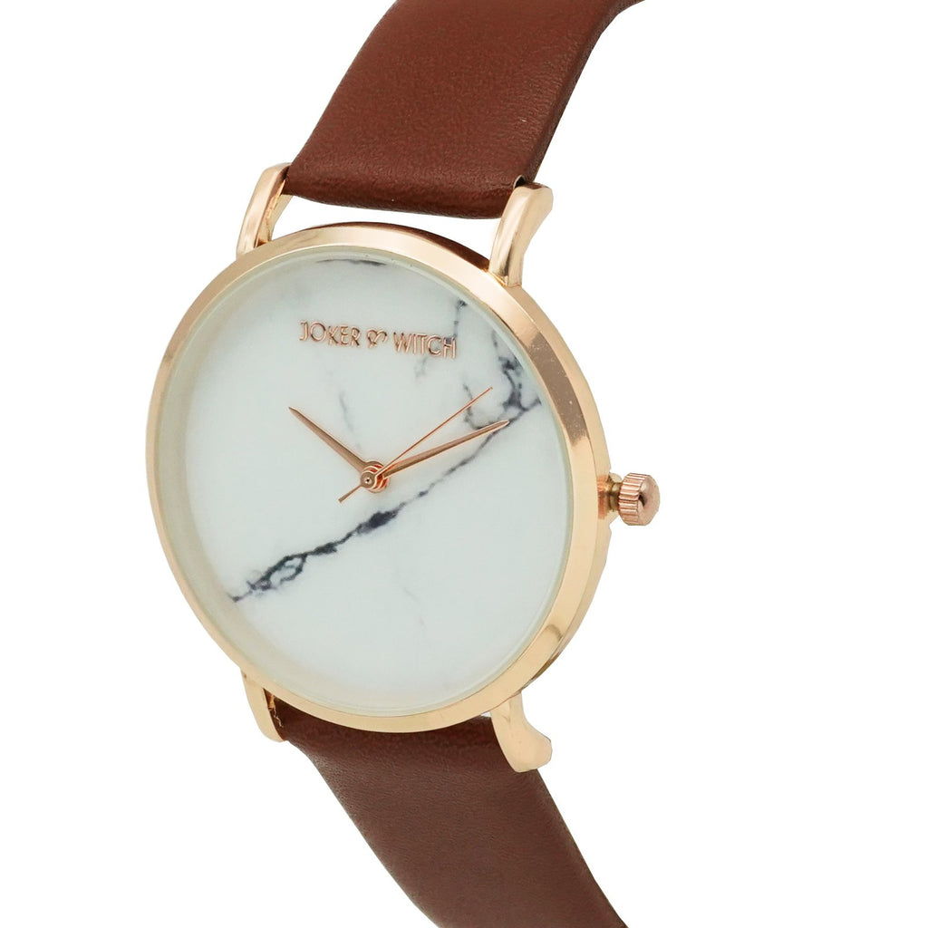 Hannah White Marble Dial Tan Watch