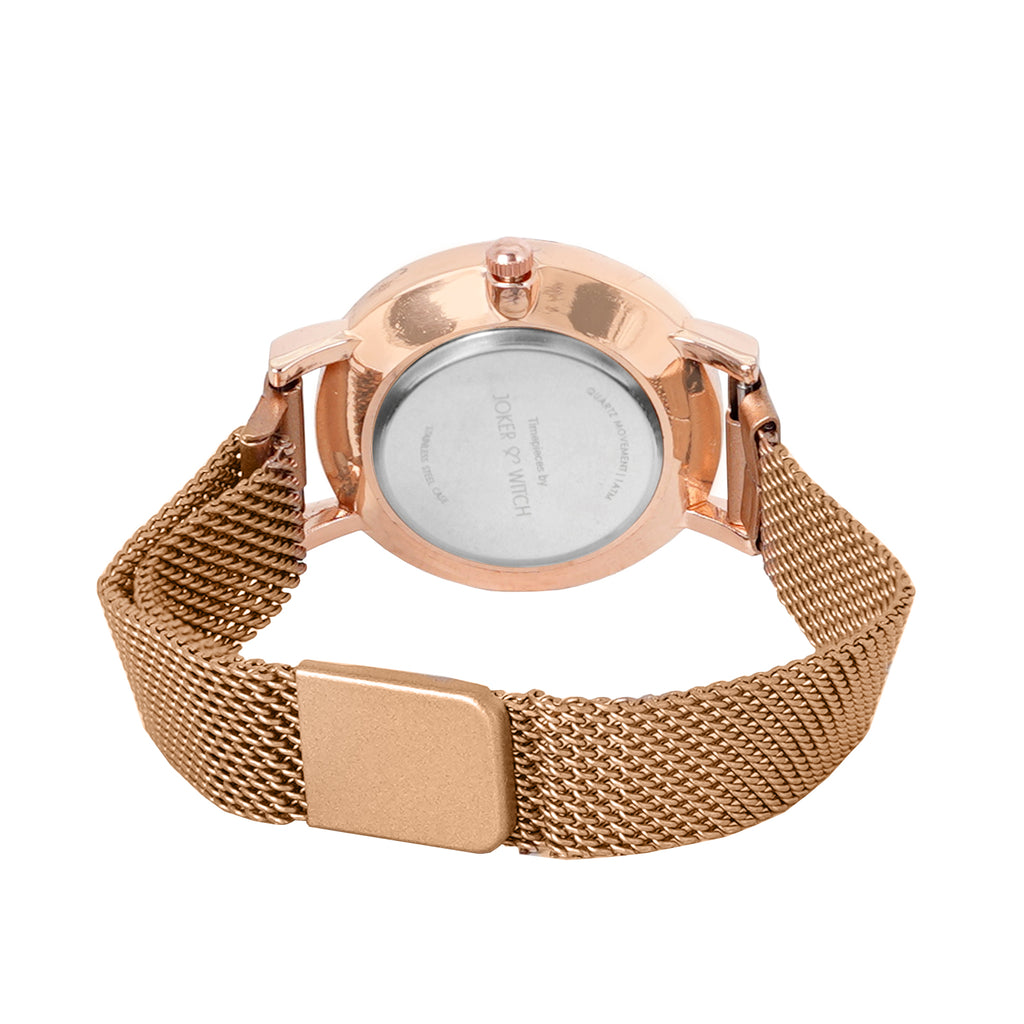Lexi Mini Rose Gold Black Dial Magnetic Watch