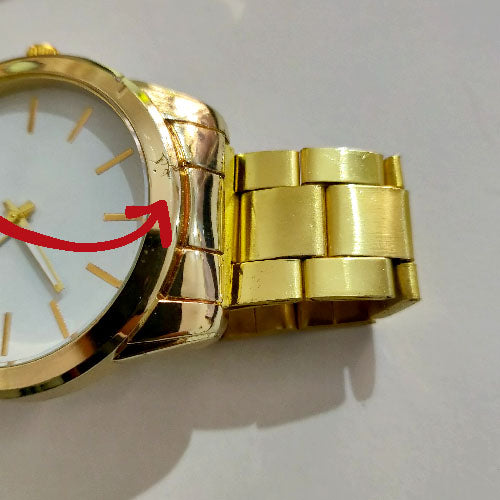 Chunky White dial Gold Watch