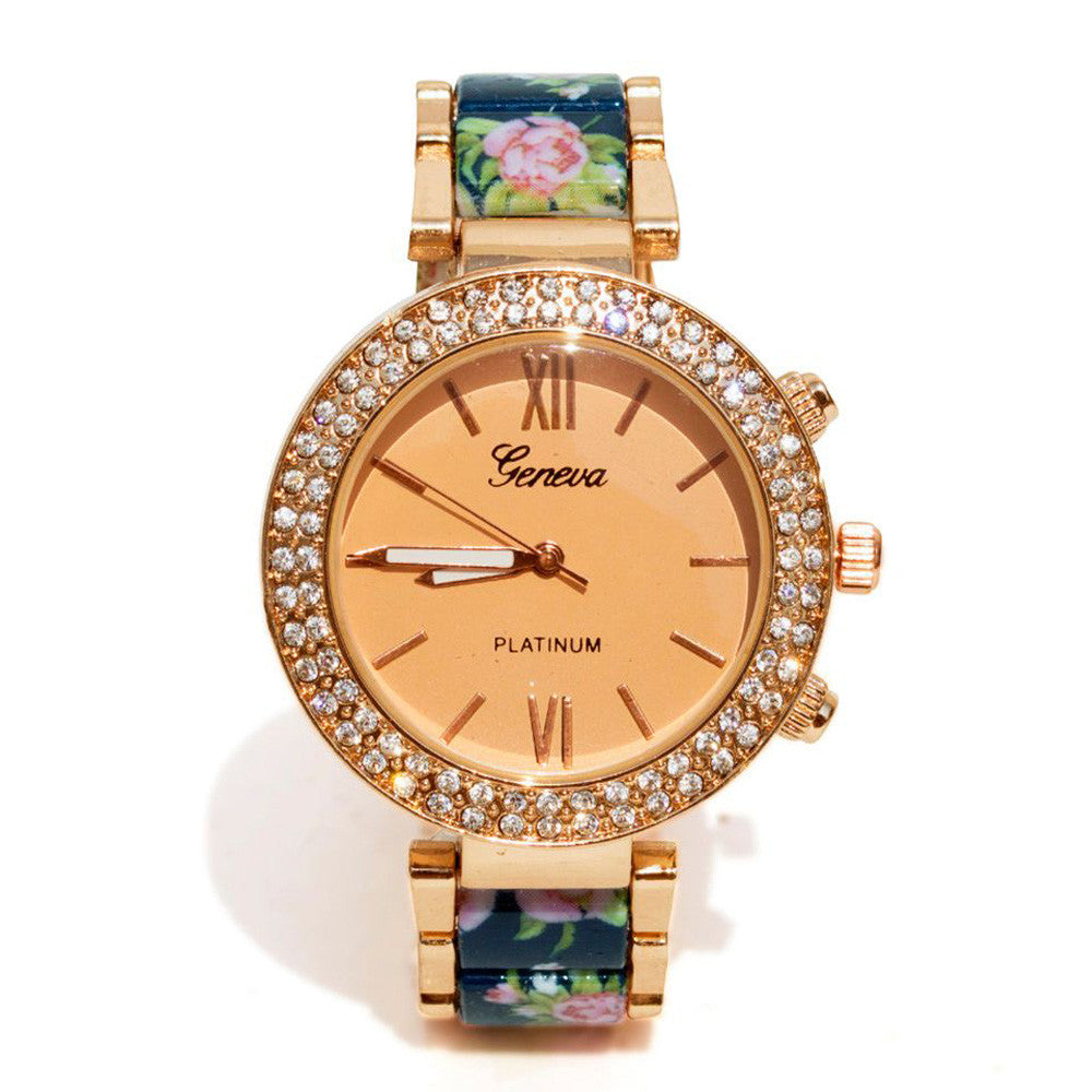 Floral strap Blue & rosegold watch - Joker & Witch - 1