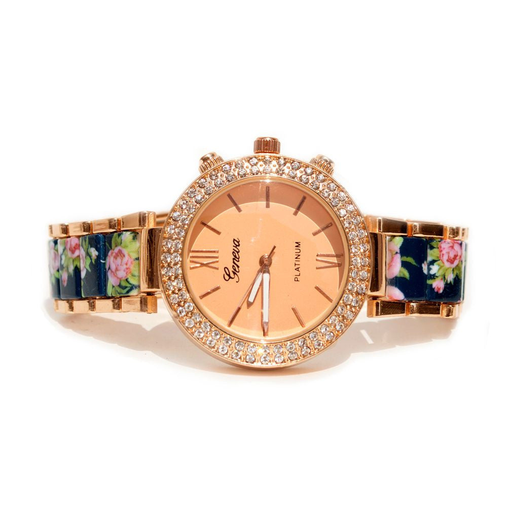 Floral strap Blue & rosegold watch - Joker & Witch - 3