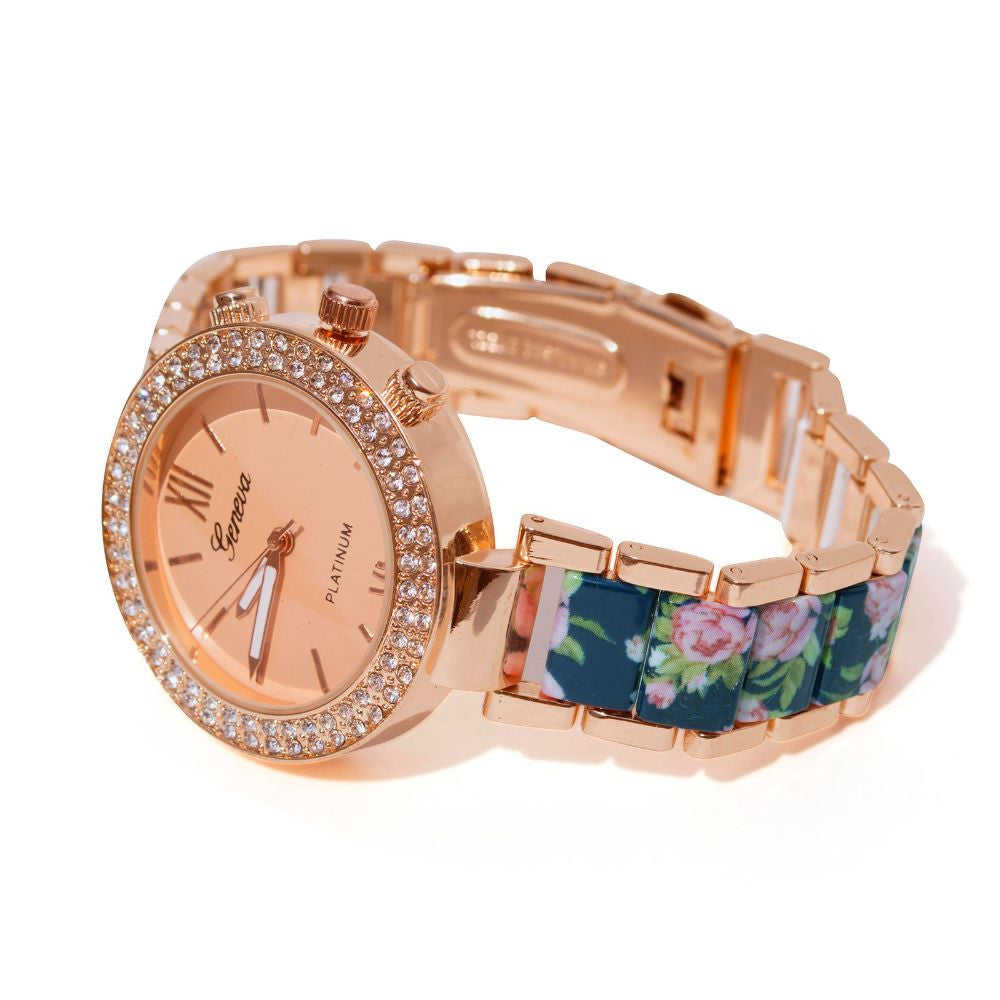 Floral strap Blue & rosegold watch - Joker & Witch - 4