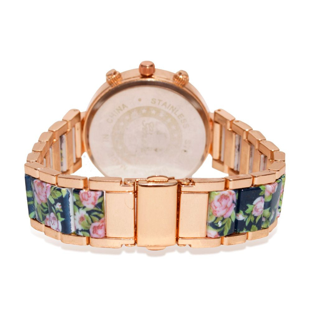 Floral strap Blue & rosegold watch - Joker & Witch - 5