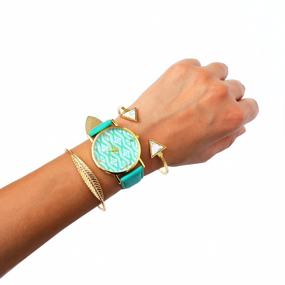 Aqua Blue Bracelet Stack with gold bracelets