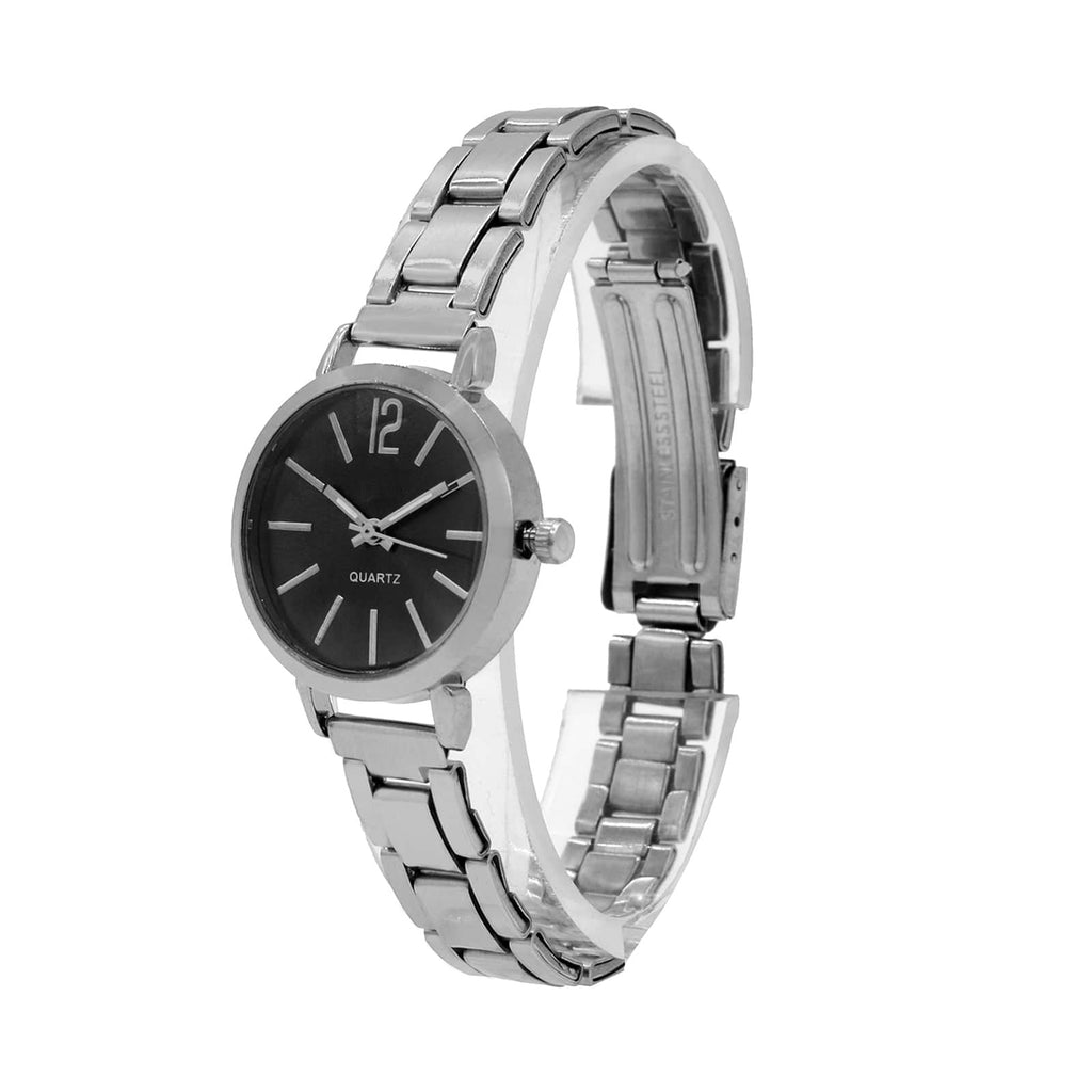Celeste Black Dial Silver Watch Bracelet Stack - Joker & Witch