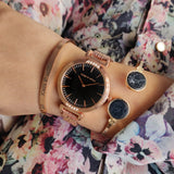 Tallie Black Dial Rosegold Watch Bracelet Stack - Joker & Witch