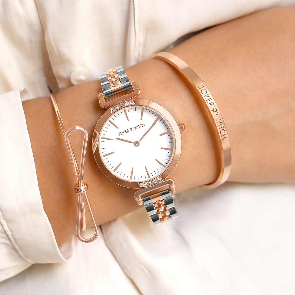 Kaila White Dial Rosegold Watch Bracelet Stack - Joker & Witch