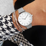Happy White Dial Silver Watch Bracelet Stack - Joker & Witch