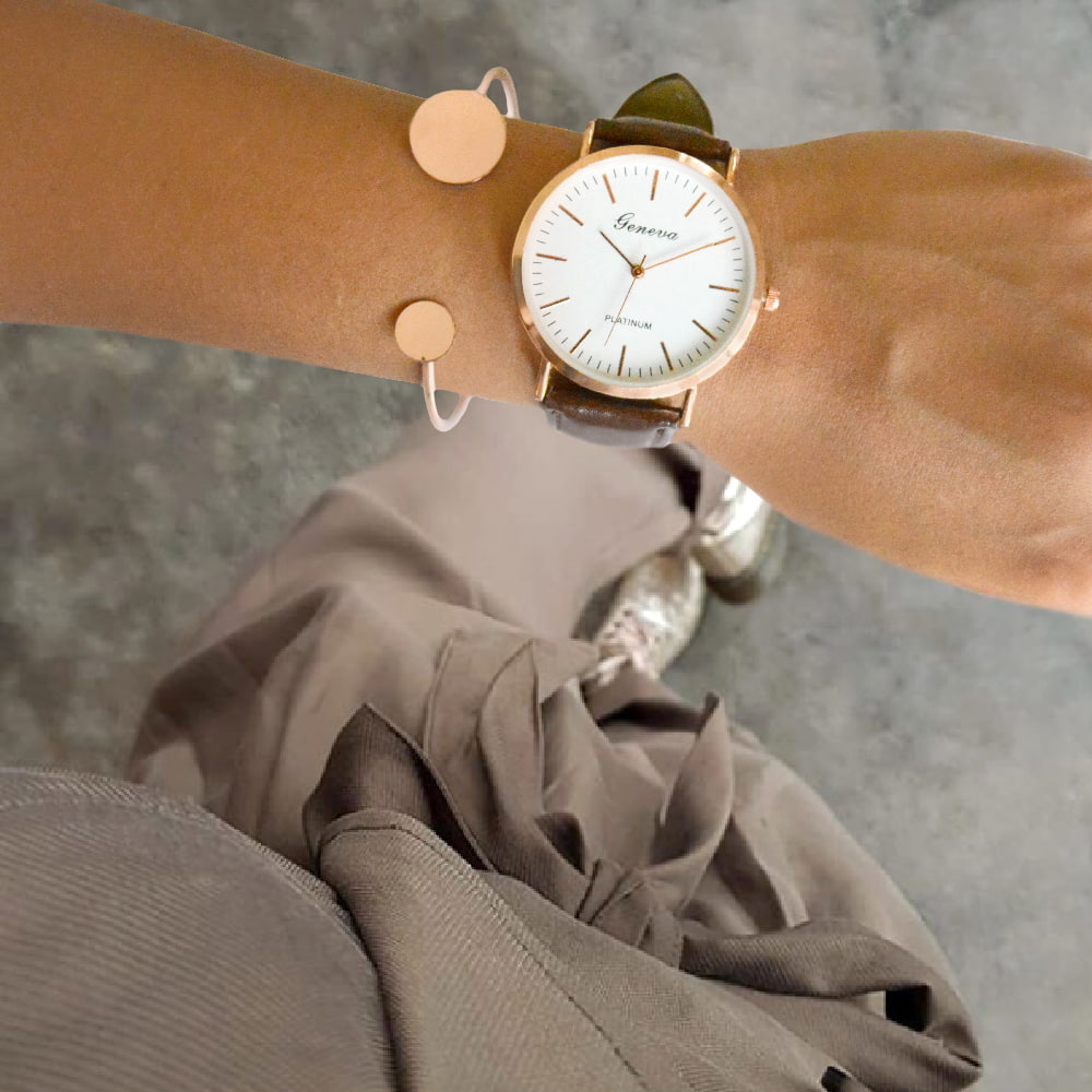 Hazel Brown Watch Bracelet Stack