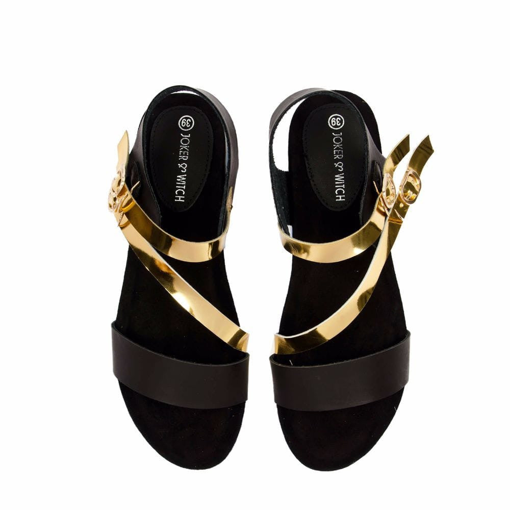 Strappy Gold and Black flatform sandal - Joker & Witch - 4