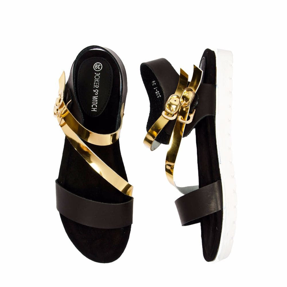 Strappy Gold and Black flatform sandal - Joker & Witch - 3