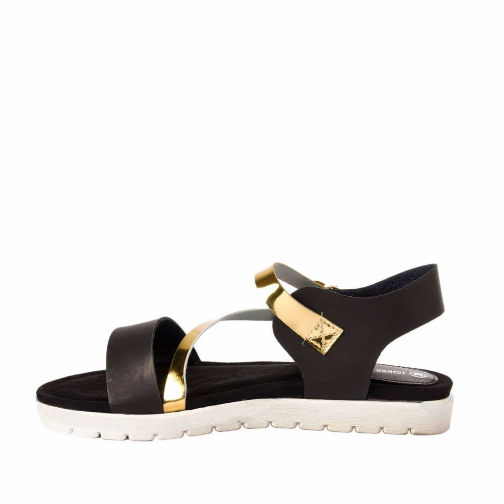 Strappy Gold and Black flatform sandal - Joker & Witch - 5