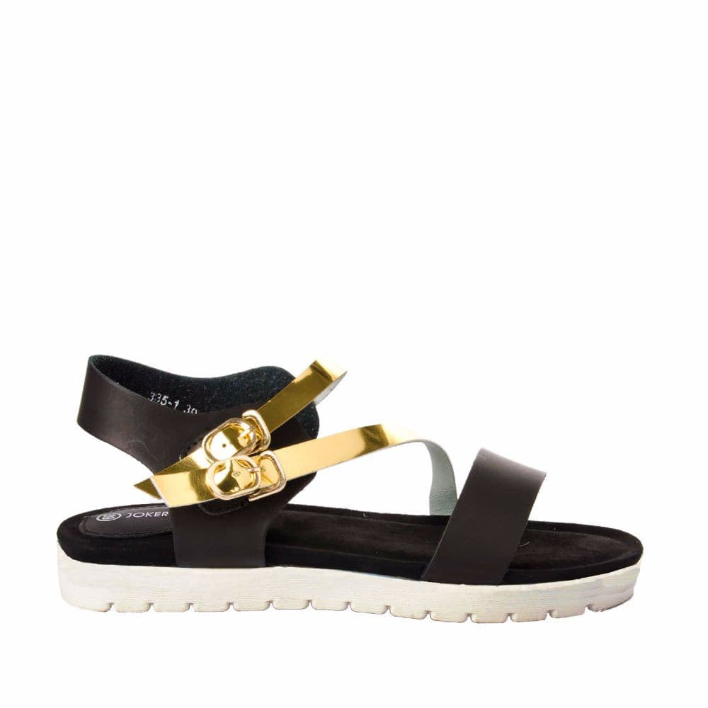 Strappy Gold and Black flatform sandal - Joker & Witch - 1