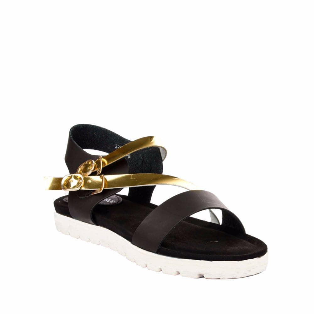 Strappy Gold and Black flatform sandal - Joker & Witch - 6