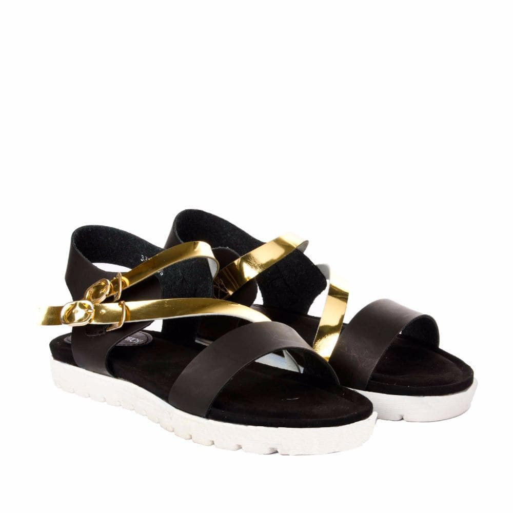 Strappy Gold and Black flatform sandal - Joker & Witch - 7