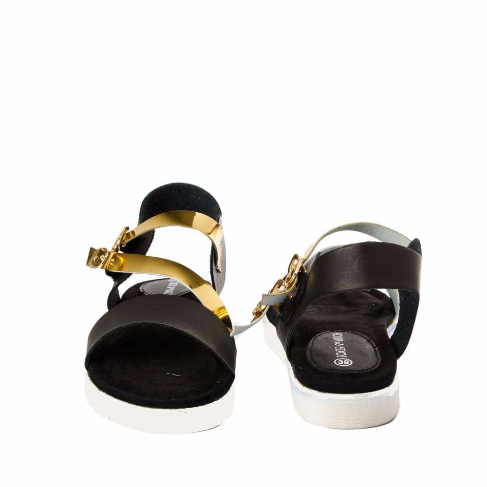 Strappy Gold and Black flatform sandal - Joker & Witch - 10